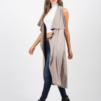 Lightweight Suede Sleeveless Jacket