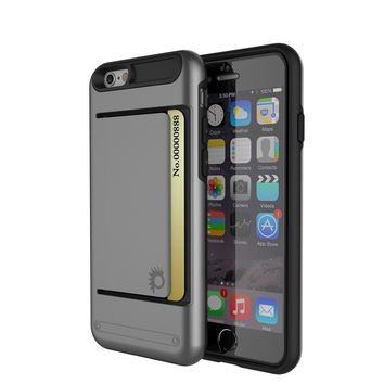 iPhone 6/6s Plus Case PunkCase CLUTCH Grey Series Slim Armor Soft Cover Case w/ Tempered Glass