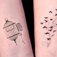 Open Cage and Birds in Flight Temporary Tattoo set by TattooMint