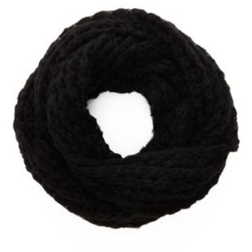 Black Chunky Open Knit Cowl  Scarf by Charlotte Russe