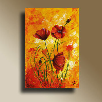 Red Poppies Print Poster of Original Painting Wall Decor Decorative Arts V006