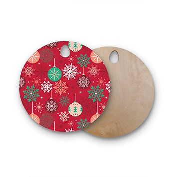 "KESS InHouse julia grifol ""Christmas Balls"" Red Green Pattern Holiday Vector Round Wooden Cutting Board"