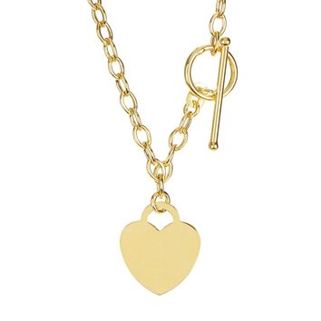 14k Yellow Gold Chain Oval Link Heart Necklace 3d6e03961b