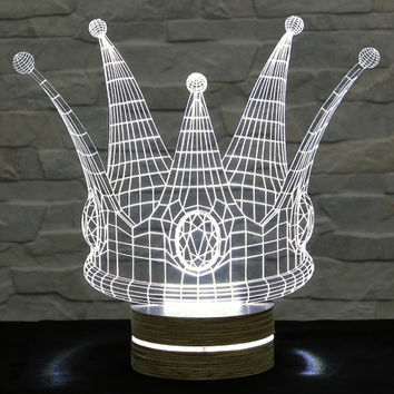 Crown Shape, 3D LED Lamp, Acrylic Lamp, Art of Light, Home Decor, Artistic Lamp, Night Light, Table Light, Office Decor, Nursery Light
