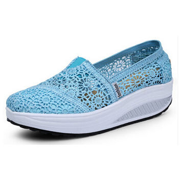 Women Shoes Lace Summer Sandals Candy Color Loafers Breathable Wedges Fitness Creepers Platform Shoes Woman Slip On Flats p3d40