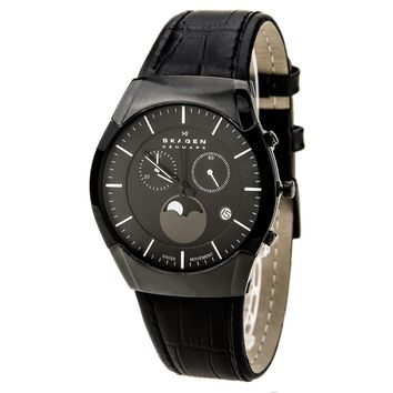 Skagen 901XLBLB Men's Denmark Black Dial Leather Strap Chronograph Moonphase Watch