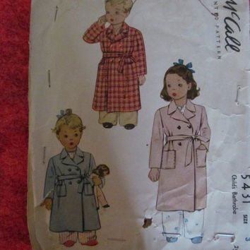 Spring Fever Sale 1940's McCall's Sewing Pattern, 5431! Size 3, Kids/Toddlers/Children/Boys/Girls, Robes, Bath Robes, Rain Jacket, Coats
