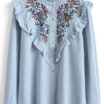 Retro Wildflower Embroidered Shirt in Blue Stripes