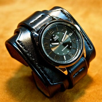 Leather cuff watch Slick Triple Black vintage style Wide layered made in NYC for YOU by Freddie Matara!