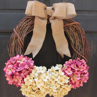 Spring Grapevine Wreath, Rose Pink & Cream Hydrangea Wreath, Rustic Spring Door Hanger
