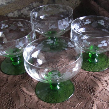 Elegant Etched Grape/Vine Pattern Green Stem Vintage Sherberts, Set 4, Perfect Wedding Gift!