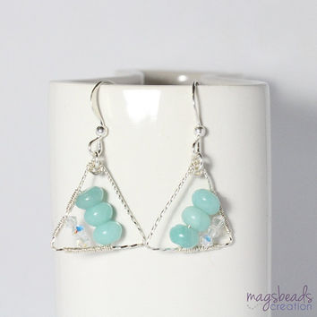 Amazonite Gemstone Beads Geometric Triangle Wire Wrapped Sterling Silver Earrings