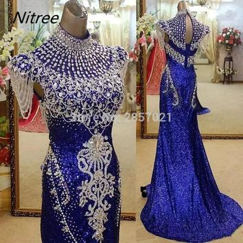 2018 Royal Blue Sequined Fabric Mermaid Formal Prom Dresses with Sparkly Crystals Rhinestones High Neck Beading Evening Dresses