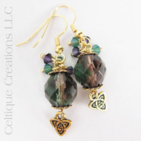 Handmade Celtic Trinity Knot Drop Earrings in Gold, Purple and Green