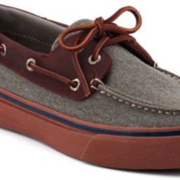 Sperry Top-Sider Bahama Heavy Canvas 2-Eye Boat Shoe Gray/Oxblood, Size 8M  Men's Shoes