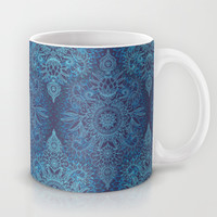 Aqua, Cobalt Blue & Purple Protea Doodle Pattern Mug by Micklyn
