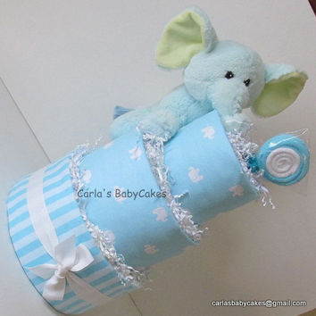 Elephant Diaper Cake,Baby Shower Centerpiece,3 layer Diaper Cake,Baby Shower Gift,New Mom Gift,New Baby Gift,Mom to be Gift,Baby Shower Deco