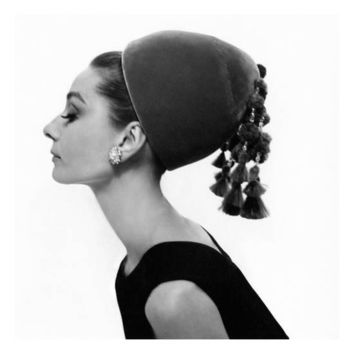 Vogue - August 1964 - Audrey Hepburn in Velvet Hat Photographic Print by Cecil Beaton at Art.com