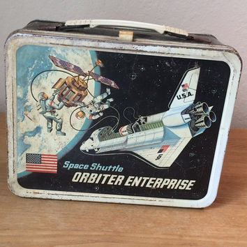 Vintage Thermos Space Shuttle Orbiter Metal Lunchbox, 1977 King Seeley Thermos Lunch Pail Co. Lunch