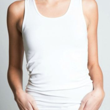 Bamboo Cotton Tank in White