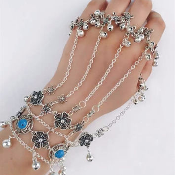 Bohemian Silver Blue Bead Bracelets Flower Bells Tribal Ethnic