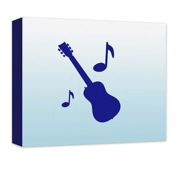 Guitar with Musical Notes Children's Canvas Wall Art