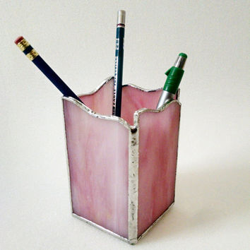 Pencil  Holder - Pen Holder - Stained Glass - Pink Swirl Wave - Desk Accessory - Office Decor - Desk Set