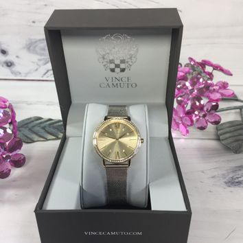 Vince Camuto Vc/5351chtt Ladies Crystal Accented Gold Tone & Silver Watch