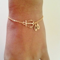 Anchor bracelet,gold anchor bracelet,friendship gift,best friend gift,initial bracelet,initial leaf and anchor,personalized bracelet