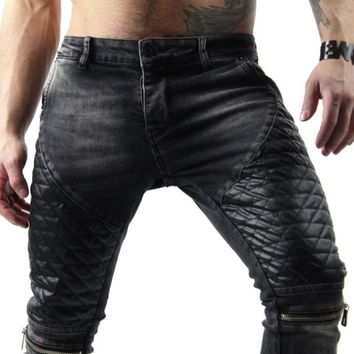 Mens Moto Jeans, Distressed Grey jeans for men, Mens skinny biker jeans