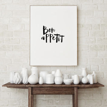 "French quote ""Bon appetit"" French poster Inspirational quote Kitchen poster Kitchen quote Kitchen art Motivational poster Wall artwork"
