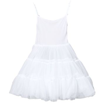 Full Petticoat with Adjustable Straps & Comfortable Bouffant Nylon Tea Length (Girls 2T - Size 10)