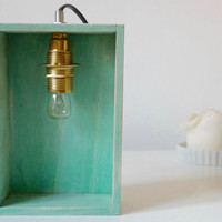 Table lamp / Wooden handmade desk, bedroom, table lamp / wooden box lamp