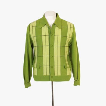 Vintage 60s Men's CARDIGAN / 1960s Bright Green Plaid Panel Front Lightweight Wool Knit Sweater M