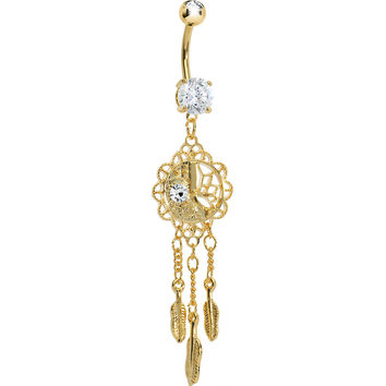Gold Plated CZ Sun Moon Dreamcatcher Chandelier Belly Ring