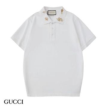 GUCCI 2019 new men's lapel POLO shirt embroidery logo half sleeve T-shirt white
