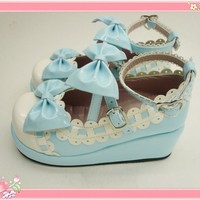 Blue Bowknots PU Lolita Shoes