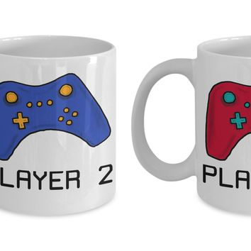 Video Gamer Couple Mug Set ~ Player 1 & Player 2
