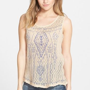 Junior Women's Blu Pepper Open Back Embroidered Tank,