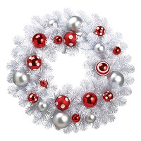 Artificial Christmas Wreath White Pine with Ornaments - 24""