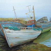 Seascape Ships on Shore,  Boat Painting