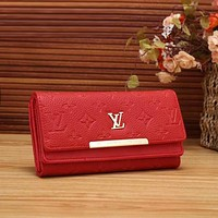 LV Women Shopping Fashion Leather Buckle Wallet Purse