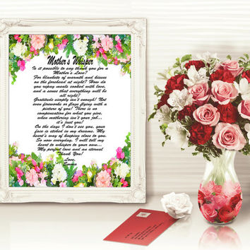 Personalized Mom Art Print, Digital Mother Poem, Personalized Mom Poem Gift, Mother's Day Wall Art Gift, Mom Floral Art Print, Mother Poem