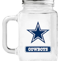 Dallas Cowboys Mason Jar Glass With Lid