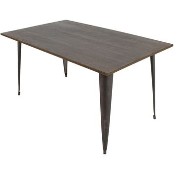 Oregon Industrial Dining Table, Antique & Espresso