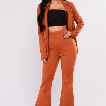 Time And A Half Pant Set - Cognac