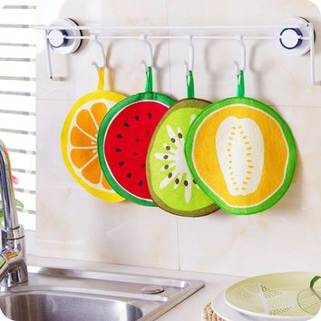 20cm Round Small Fruit style Kids Children Soft Fabric Hand Towel Bathroom Hanging Kitchen Cleaning Cloth Rag Home Wipe Towel
