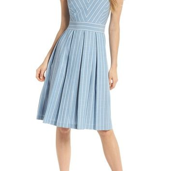 Gal Meets Glam Collection Slub Stripe Fit & Flare Dress | Nordstrom