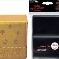 Ultra pro Magic the Gathering Players Package! MTG Mana Magnetic GOLD FLIP BOX (86049) and (100) Ultra Pro New Standard Size (66mmx91mm) BLACK Deck Protector Sleeves(82691)! MTG Flip Deck Box Holds 100 Collectible Cards in Ultra Pro Deck Protectors! Leathe