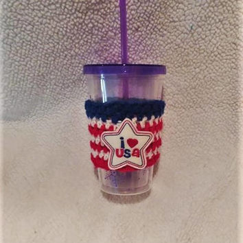 Patriotic Cup Sleeve, Crochet Cup Cozy, Coffee Cozy, I Love USA,  Mug Cozy, Coffee Accessories, Red White and Blue, Applique